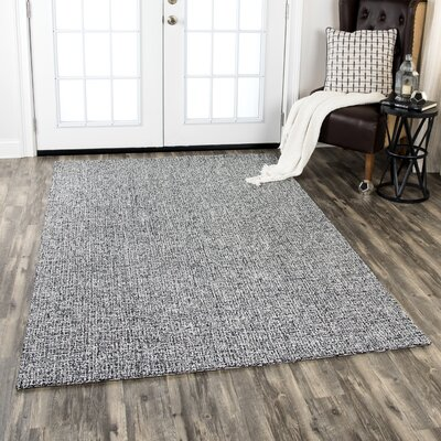 Priory Hand-Tufted Wool Black/White Area Rug Rug Size: Round 8