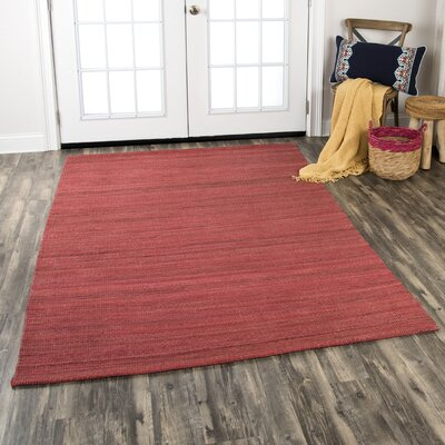 Privett Hand-Woven Red Area Rug Rug Size: Rectangle 5 x 7
