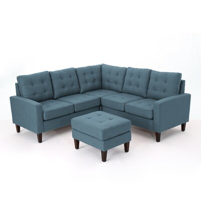 Vanhorn Modular Sectional with Ottoman Upholstery: Blue