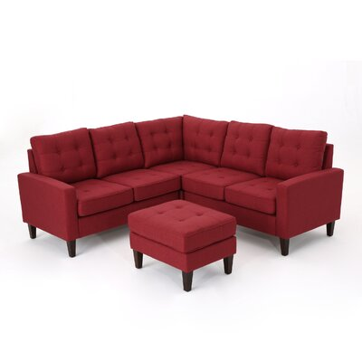 Vanhorn Modular Sectional with Ottoman Upholstery: Red