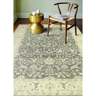 Crawley Hand-Knotted Wool Gray Area Rug Rug Size: Rectangle 89 x 119