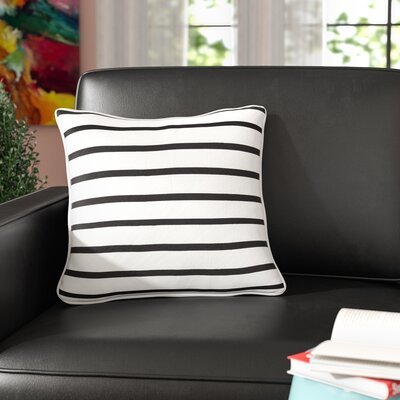 Carnell Contemporary Striped Cotton Throw Pillow Color: White/ Black