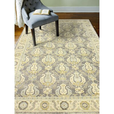 Bhairu Hand-Knotted Wool Gray Area Rug Rug Size: Rectangle 89 x 119