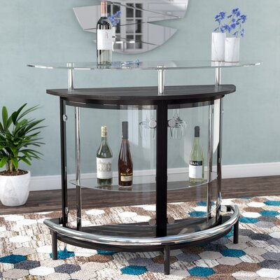 Fairborn Bar with Wine Storage Color: Black