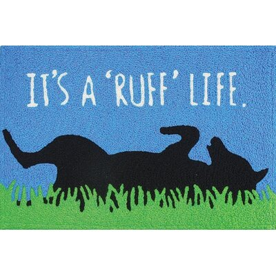 Ortonville Ruff Life Scatter Hand-Tufted Blue Indoor/Outdoor Area Rug