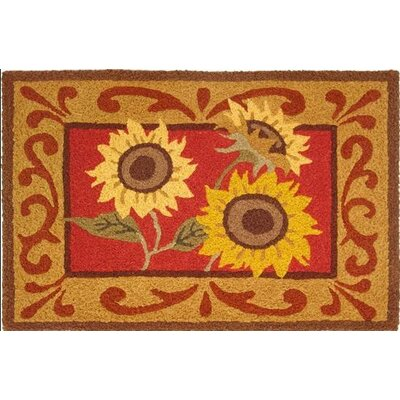 Jarry Provence Sunflowers Scatter Hand-Tufted Red/Brown Indoor/Outdoor Area Rug