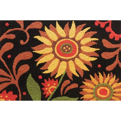 Swenson Prairie Sunflower Scatter Hand-Tufted Black/Pink Indoor/Outdoor Area Rug