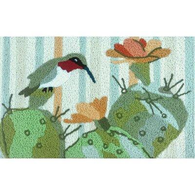 Makushin Hummingbird Cactus Scatter Hand-Tufted Green Indoor/Outdoor Area Rug