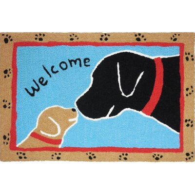 Ortonville Welcome Dogs Scatter Hand-Tufted Black/Blue Indoor/Outdoor Area Rug