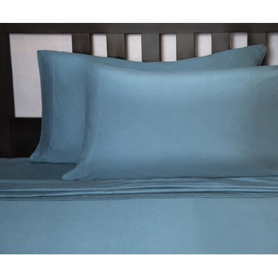Soft Tees Knit Sheet Set Size: Full, Color: Teal/Navy