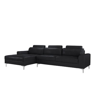 Kampmann Leather Sectional Upholstery: Black