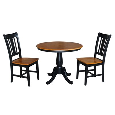 Politte Round Top Pedestal 3 Piece Extendable Dining Set