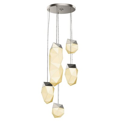 5-Light LED Cluster Pendant Finish: Satin Nickel