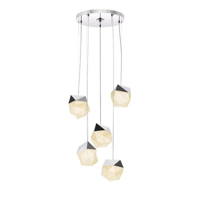 5-Light LED Cluster Pendant Finish: Polished Chrome
