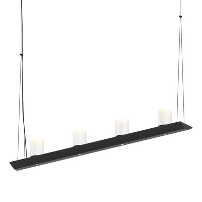 8-Light LED Kitchen Island Pendant Finish: Satin Black