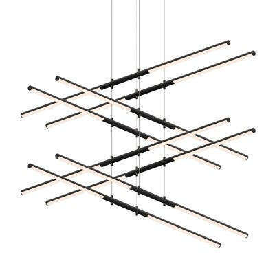 Tik-Tak Stack 16-Light LED Geometric Pendant Finish: Satin Black