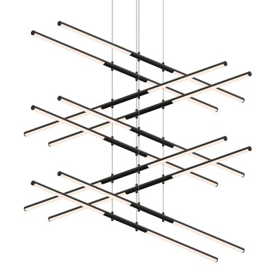 Tik-Tak Stack 20-Light LED Geometric Pendant Finish: Satin Black
