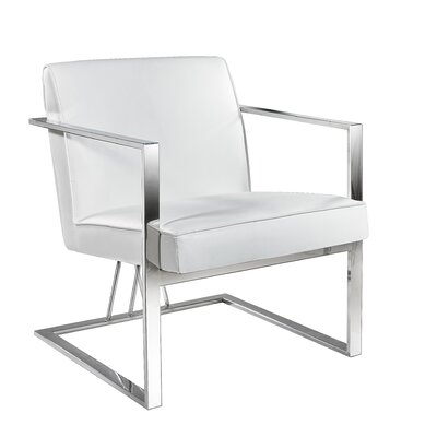 Jakubowski Elias Armchair Upholstery: White, Finish: Steel