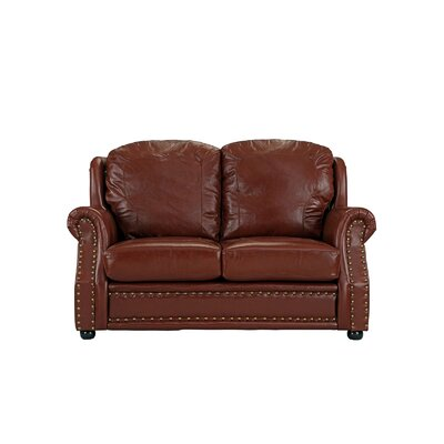 Hinton Charterhouse Leather Loveseat Upholstery: Light Brown