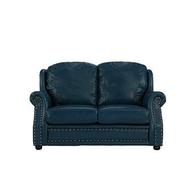 Hinton Charterhouse Leather Loveseat Upholstery: Blue