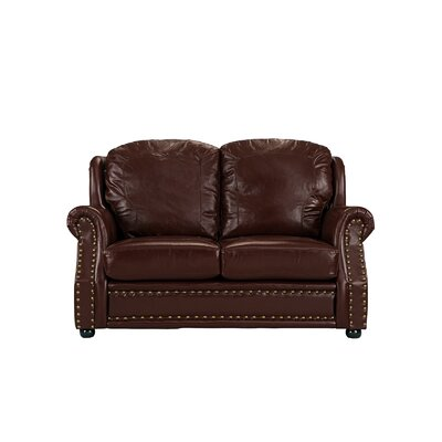Hinton Charterhouse Leather Loveseat Upholstery: Dark Brown