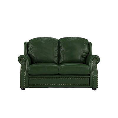 Hinton Charterhouse Leather Loveseat Upholstery: Green