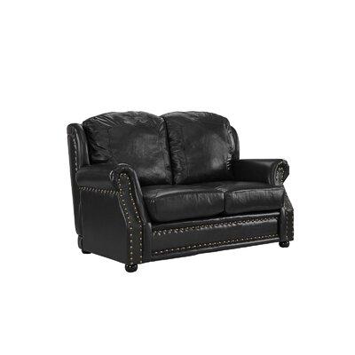 Hinton Charterhouse Leather Loveseat Upholstery: Black