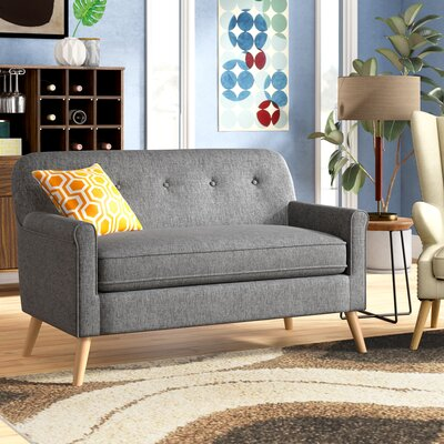 Enfield Mid Century Modern Loveseat Upholstery: Gray