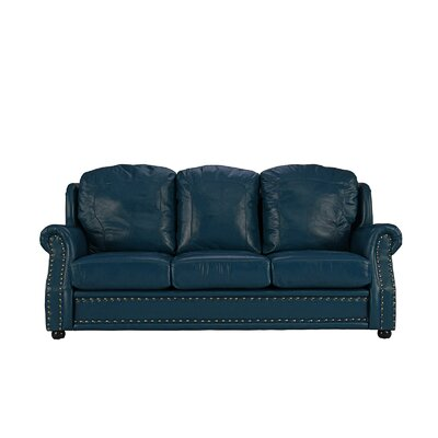 Hintz Leather Sofa Upholstery: Blue