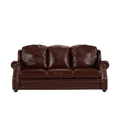Hintz Leather Sofa Upholstery: Dark Brown