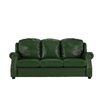 Hintz Leather Sofa Upholstery: Green