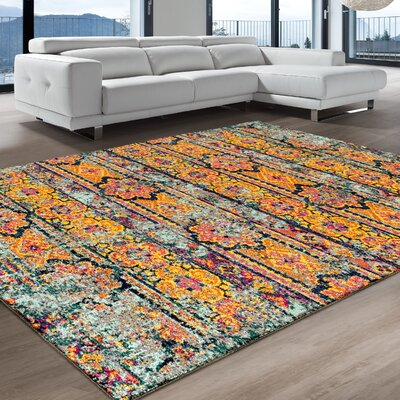 Albata Aqua Area Rug Rug Size: Rectangle 8 x 10