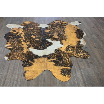 One-of-a-Kind Winterbourne Down Hand-Woven Cowhide Vibrant Orange Area Rug