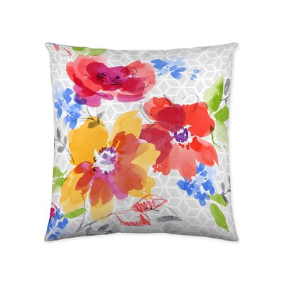 Watercolor Flower Patches Cotton Throw Pillow