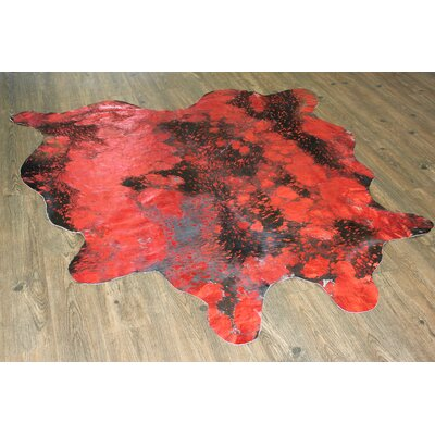 One-of-a-Kind Winterbourne Down Hand-Woven Cowhide Red Area Rug