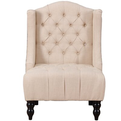 Plott Modern Tall Wingback Chair Upholstery: Beige