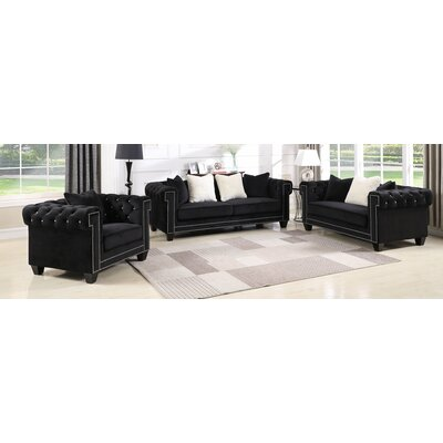 Flavin Upholstered 3 Piece Living Room Set Upholstery: Black