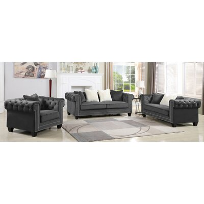 Flavin Upholstered 3 Piece Living Room Set Upholstery: Gray