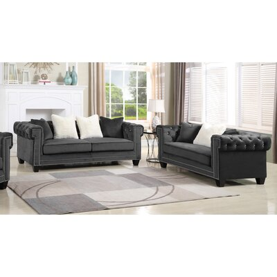Leggett Upholstered 2 Piece Living Room Set Upholstery: Gray