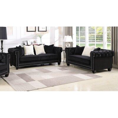 Leggett Upholstered 2 Piece Living Room Set Upholstery: Black