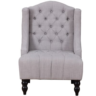 Plott Modern Tall Wingback Chair Upholstery: Navy