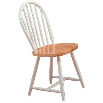 Bazan Modish Solid Wood Dining Chair Color: White/Brown