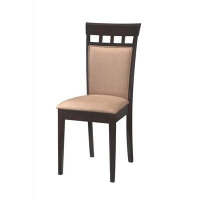 Hoehn Back Panel Upholstered Dining Chair Upholstery Color: Beige, Frame Color: Black