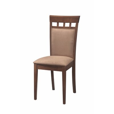 Hoehn Back Panel Upholstered Dining Chair Upholstery Color: Dark Beige, Frame Color: Brown