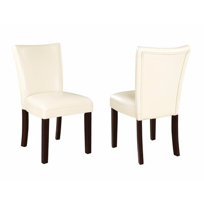 Wetter Chic and Stylish Genuine Leather Upholstered Dining Chair Upholstery Color: Cream, Leg Color: Black