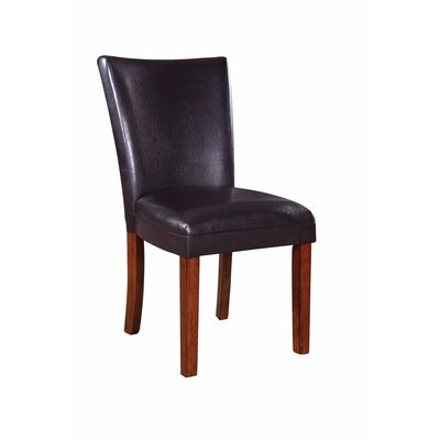 Wetter Chic and Stylish Genuine Leather Upholstered Dining Chair Upholstery Color: Dark Brown, Leg Color: Brown