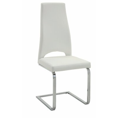Valluri High Back Cantilever Base Genuine Leather Upholstered Dining Chair Upholstery Color: White