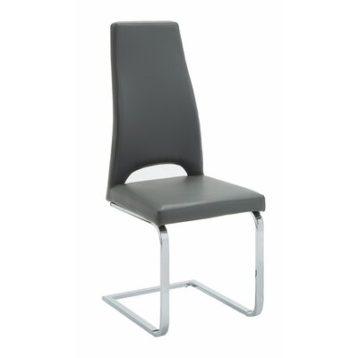 Valluri High Back Cantilever Base Genuine Leather Upholstered Dining Chair Upholstery Color: Black