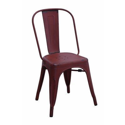 Emmert Metallic Chic Dining Chair Color: Red