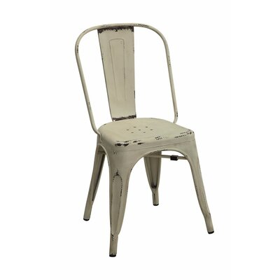 Emmert Metallic Chic Dining Chair Color: White